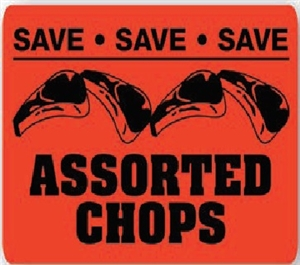Assorted Chops Save Save Save Pork Continued Label - 1.5 in. x 2 in.