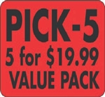 Pick-5 - 5 For Dollar 19.99 Value - 1.5 in. x 2 in.