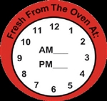 Clock Fresh from the oven Other Label - 2 in. x 2 in.