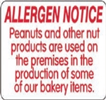 Allergen Notice Other Label - 1.5 in. x 9 in.