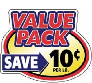 10¢ Value Pack Oval - 2.4 in. x 3 in.