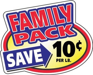 10¢ Family Pack Oval Family Pack Continued - 2.4 in. x 3 in.