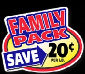 20¢ Family Pack Oval Family Pack Continued Label - 2.4 in. x 3 in.