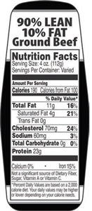 90 and 10 Ground Beef Nutrifacts Nutritional Grinds Label - 1.5 in. x 3.62 in.