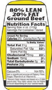 80 and 20 Ground Beef Nutrifacts Nutritional Grinds Label - 1.5 in. x 3.62 in.