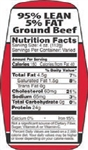 95 and 5 Ground Beef Nutrifacts Nutritional Grinds Label - 1.5 in. x 3.62 in.