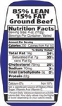 85 and 15 Ground Beef Nutrifacts Nutritional Grinds Label - 1.5 in. x 3.62 in.