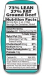 73 and 27 Ground Beef Nutrifacts Nutritional Grinds Label - 1.5 in. x 3.62 in.
