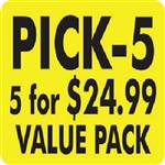 5 for Dollar 24.99 Value Pack Pick 5 - 1.5 in. x 2 in.