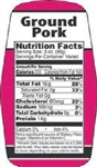 Ground Pork Nutrifacts Nutritional Grinds Label - 1.5 in. x 3.62 in.