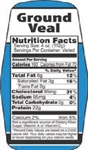 Ground Veal Nutrifacts Nutritional Grinds Label - 1.5 in. x 3.62 in.