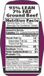 Ground Beef 93 and 7 Nutrifacts Nutritional Grinds Label - 1.5 in. x 3.62 in.