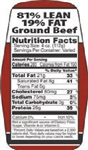 Ground Beef 81 and 19 Nutrifacts Nutritional Grinds Label - 1.5 in. x 3.62 in.