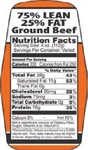 Ground Beef 75 and 25 Nutrifacts Nutritional Grinds Label - 1.5 in. x 3.62 in.