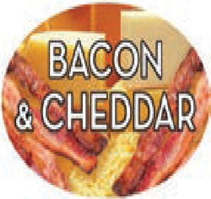 Bacon and Cheddar Flavor Label Savory - 1.25 in. x 2 in.