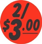 2 and Dollar 3.00 Circle Label - 1.5 in.