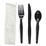 Black Four-Piece Fork, Knife, Napkin, Teaspoon Heavyweight Cutlery Kit