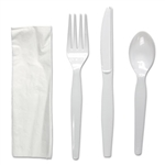 White Four-Piece Fork, Knife, Napkin, Teaspoon Heavyweight Cutlery Kit