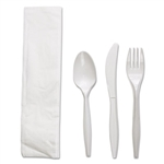 White Polypropylene Four-Piece Fork, Knife, Napkin, Teaspoon Cutlery Kit