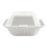 Bagasse 1 Compartment Molded Fiber Hinged Lid White Food Containers - 6 in.