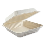 Bagasse 1 Compartment Molded Fiber Hinged Lid White Food Containers - 9 in.