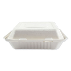 Bagasse 3 Compartment Molded Fiber Hinged Lid White Food Containers - 9 in.