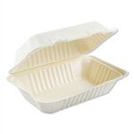 Bagasse 1 Compartment Molded Fiber Hinged Lid White Food Containers - 9 in. x 6 in.