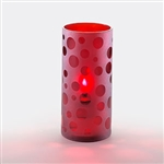 Sterno Frost Finish Glass with Dots Red Lamp - 6 in.