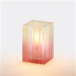Sterno Mini Ribbed Glass Square Orange Lamp - 4.5 in.