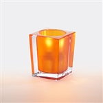 Sterno Clear and Orange Frost Square Large Lamp - 3.75 in.