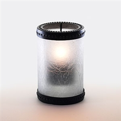 Sterno Crackle Glass with Basket Ring Frost Lamp - 5 in.