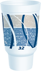 Dart Impulse Stock Blue and Gray Print Cups 32 oz
