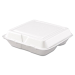 White 3 Compartment Foam Carryout Food Container - 8 in. x 7.5 in. x 2.3 in.
