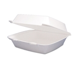 White 1 Compartment Foam Food Container - 8.38 in. x 7.87 in. x 3.25 in.