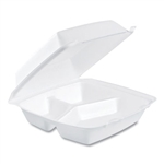White 3 Compartment Foam Food Container - 8.38 in. x 7.87 in. x 3.25 in.