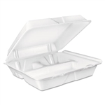 White 3 Compartment Large Foam Food Container - 9.4 in. x 9 in. x 3 in.