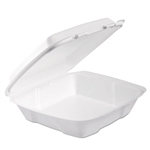 Foam White Hinged Lid 1 Compartment Container - 9 in. x 9.4 in. x 3 in.