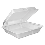 Foam Vented Hinged Lid White Containers - 9 in. x 9.4 in. x 3 in.