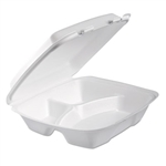 Performer Foam White 3 Compartment Hinged Lid Container - 9 in. x 9.4 in. x 3 in.
