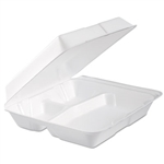 Performer White Foam 3 Compartment Hinged Lid Container - 9.3 in. x 9.5 in. x 3 in.