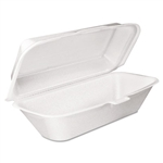 White Foam Hoagie Container with Removable Lid - 9.8 in. x 5.3 in. x 3.3 in.