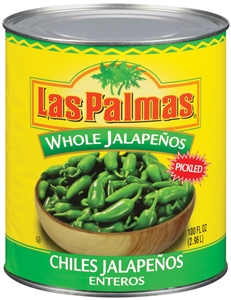 B and G Foods Peppers Las Palmas 96 oz. Whole Jalapeno