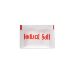 Salt and Pepper Iodized 3M Salt Pouch Flat Pack - 0.6 Gram