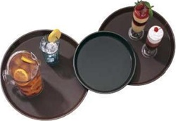 Cambro Round Plastic Brown Non Slip Tray 14 in.