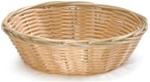 Tablecraft Round Plastic Woven Natural Basket - 8.5 in. x 2.25 in.