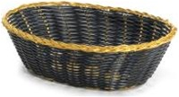 Tablecraft Gold Vinyl Oval Basket Black - 9 in. x 6 in. x 2.5 in.