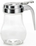 Tablecraft Chrome Metal Top Glass Syrup Dispenser - 6 Oz.