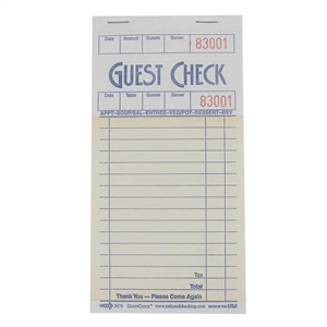 National Checking Guest Check Board Salmon 16 Lines - 3.5 in. x 6.75 in.