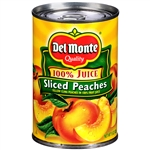Canned Sliced Yellow Cling Peaches In 100 Percentage Juice - 15 Oz.