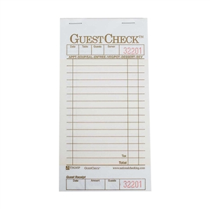 National Checking Guest Check Paper Tan 15 Lines One Part